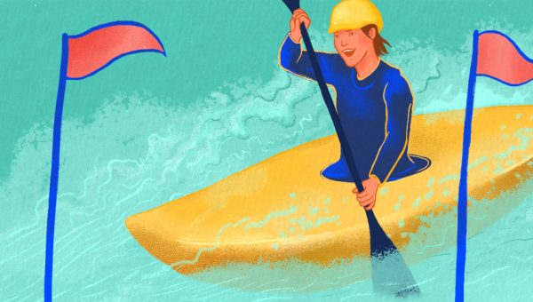 Illustration of someone in a kayak reaching the finish line