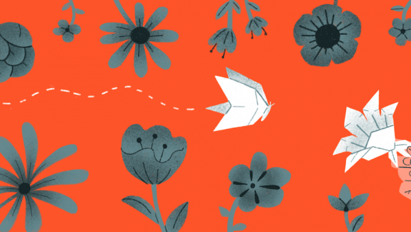 illustration of an origami bird amongst flowers