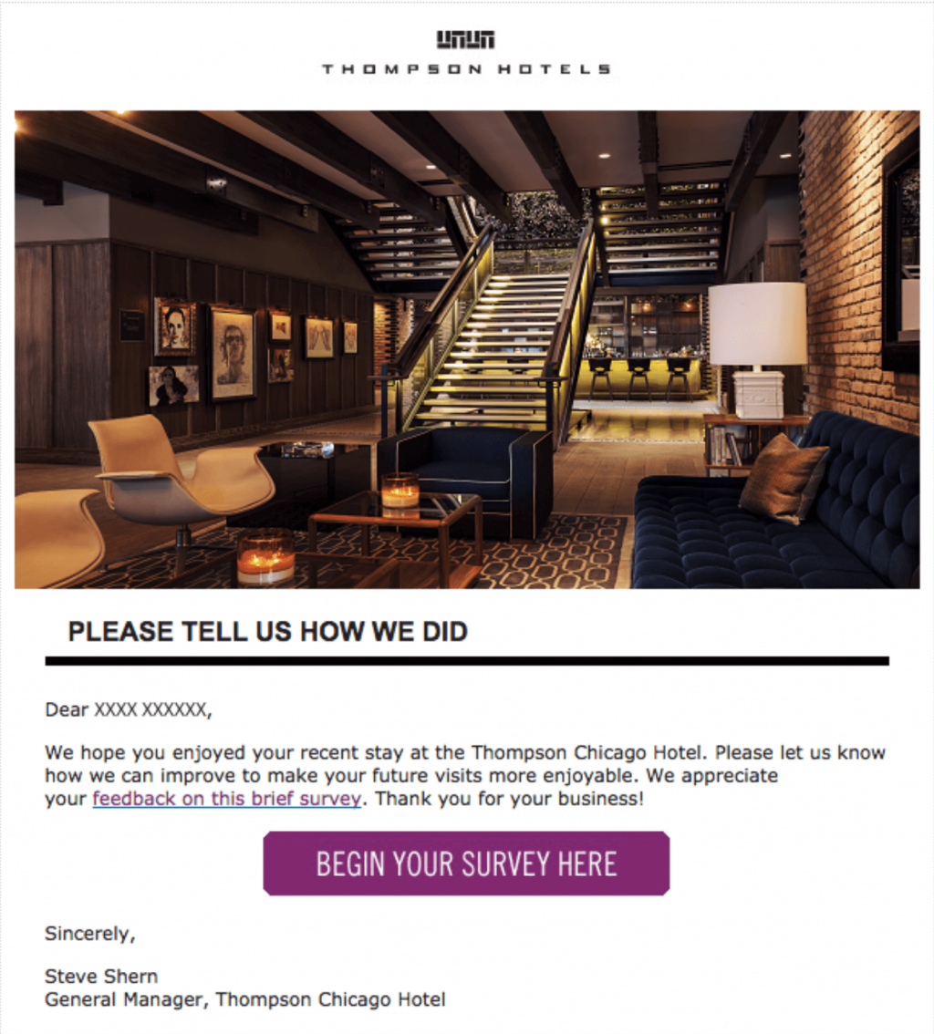 """How to Ask for Customer Feedback by Email: Thompson Hotel """"Thank You for Your Stay"""" Email"""