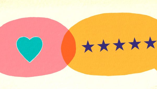 illustration of two speech bubbles with a heart and 5 stars in