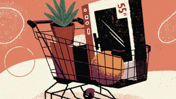 illustration of a shopping cart full of black friday bargains
