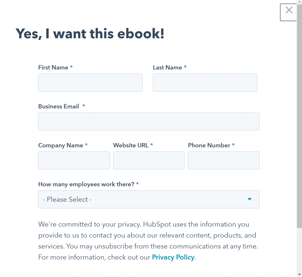 Email signup forms: HubSpot 2