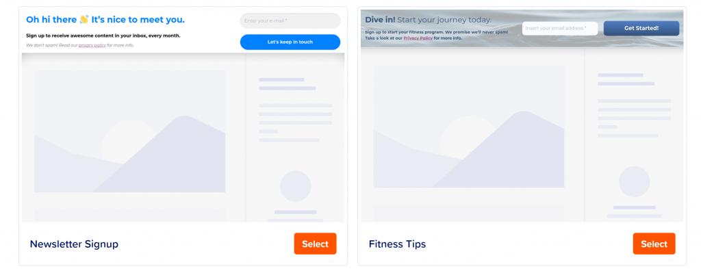 MailPoet fixed bar form templates