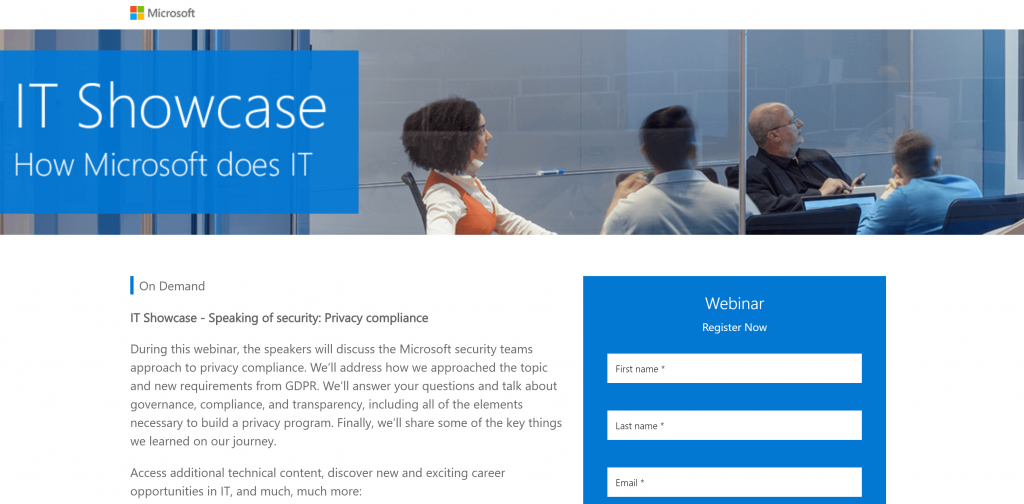 Microsoft webinar landing page
