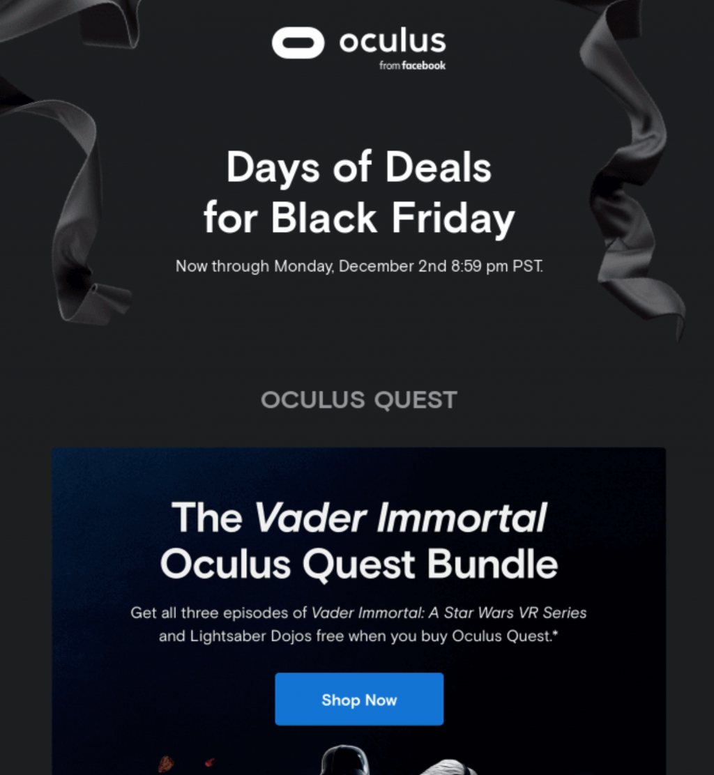 Black Friday and Cyber Monday email examples: Oculus