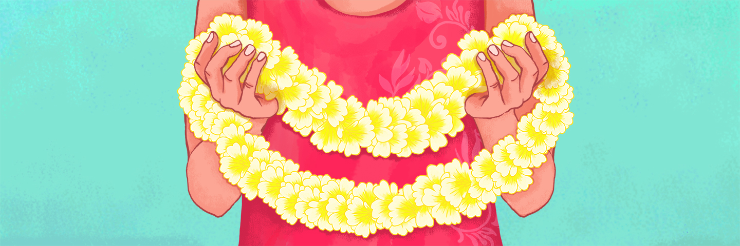 illustration of someone holding a lei garland