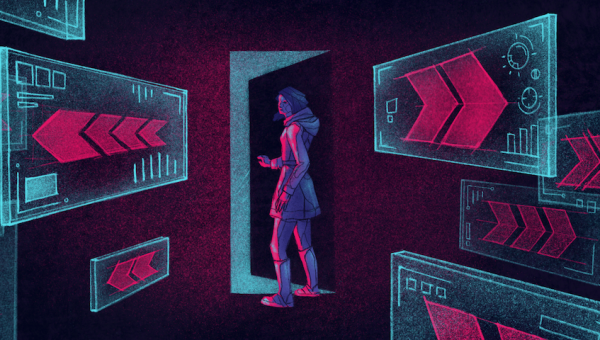 illustration of someone in a room with exit signs