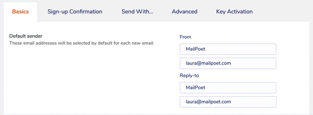'From' email address settings in MailPoet