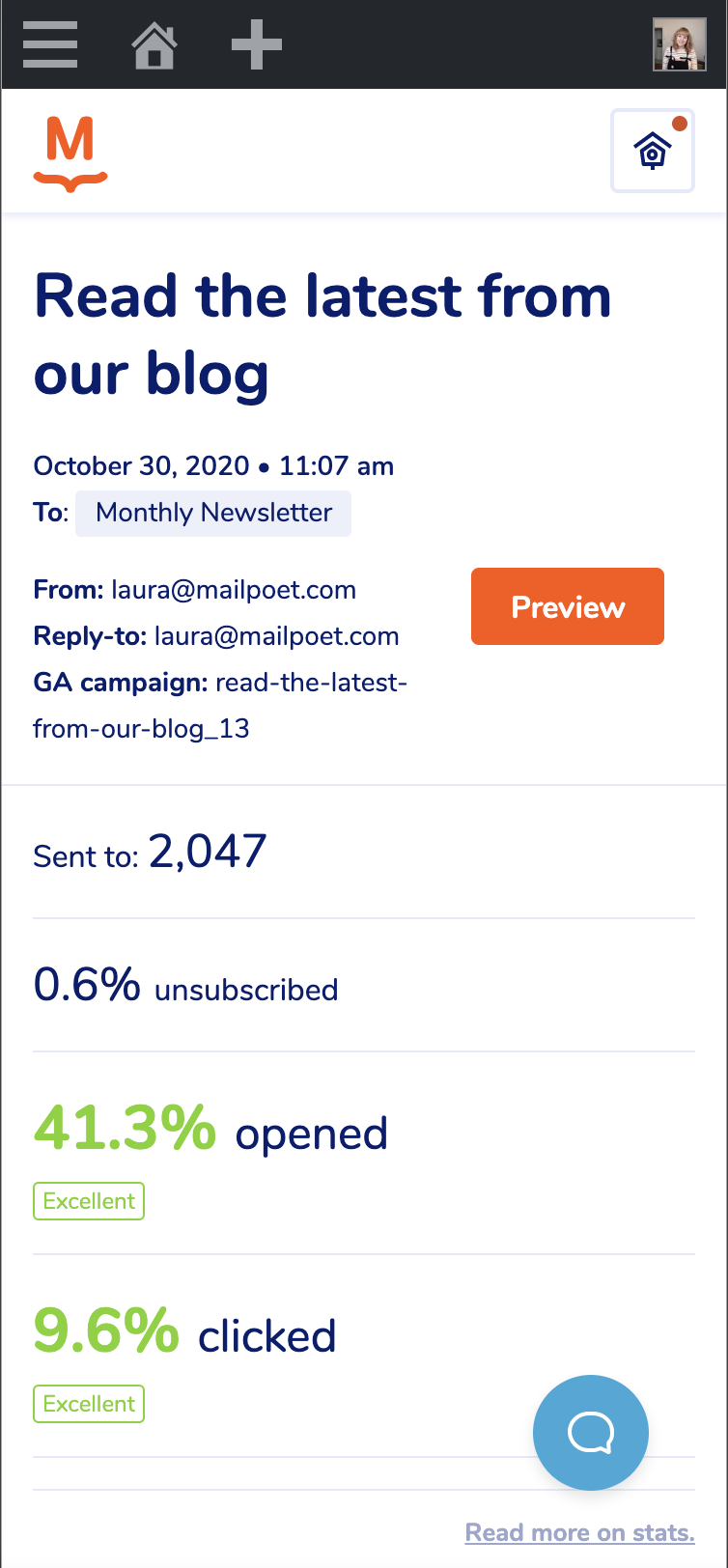 Mobile version of the stats page in MailPoet