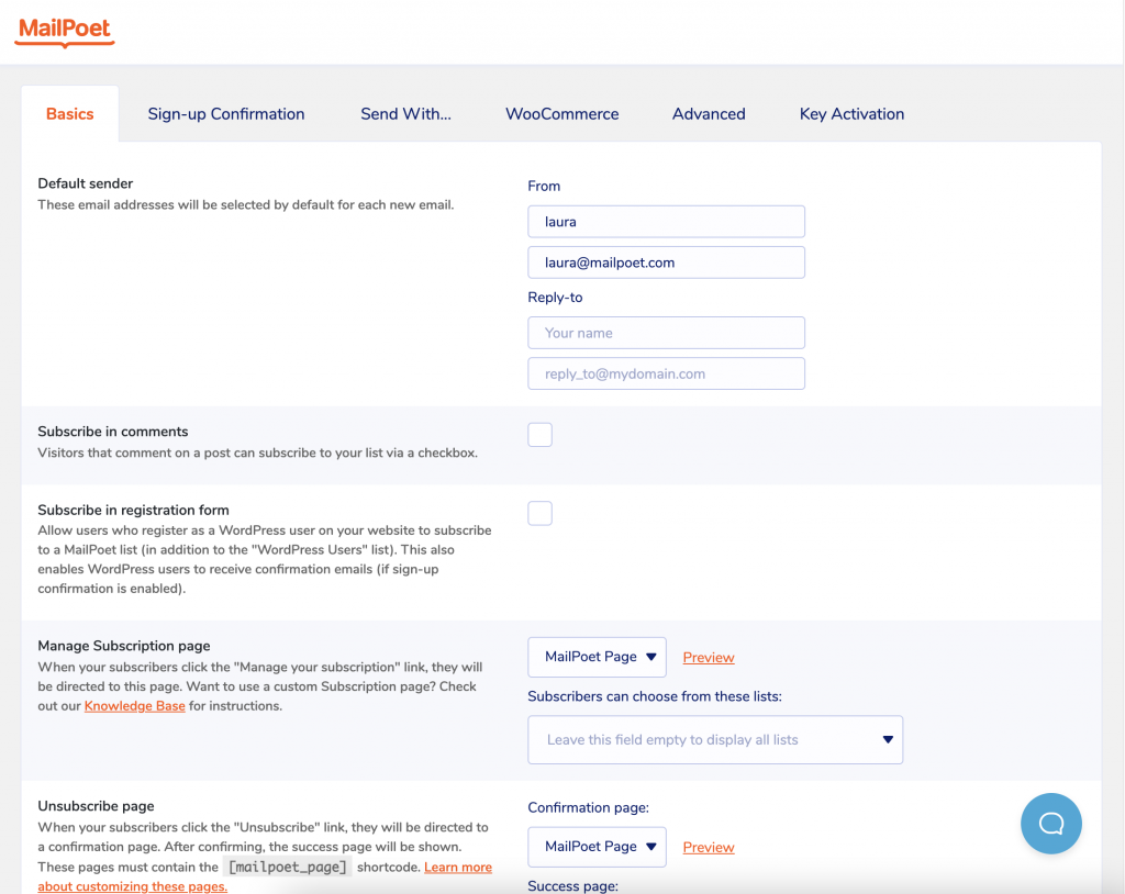 New design of settings page in MailPoet