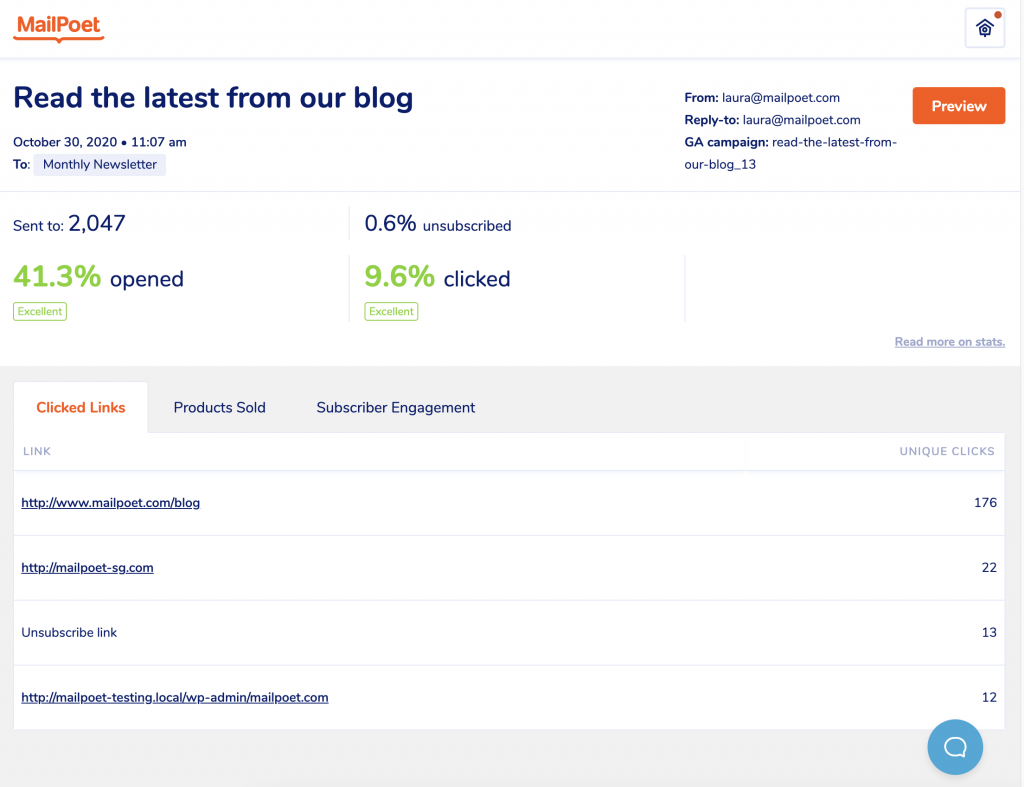 New design of stats page in MailPoet