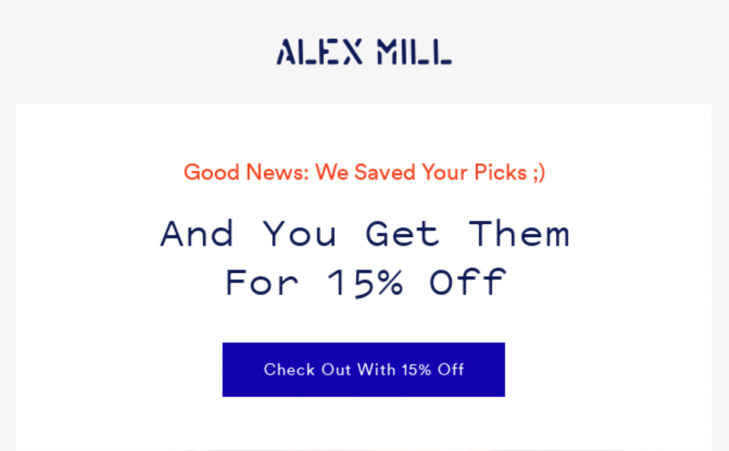 WordPress autoresponders: Alex Mill abandoned cart email