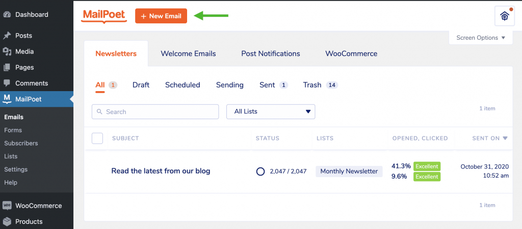 Creating a new email in MailPoet