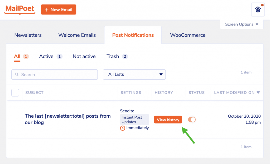 View Post Notification history in MailPoet
