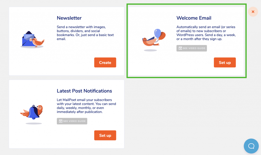 Welcome Email selection in MailPoet