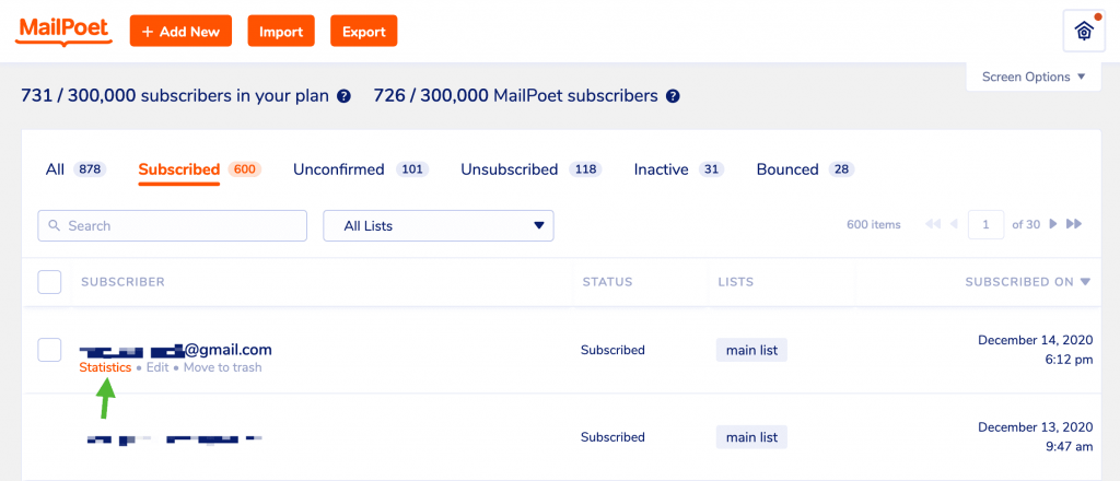 How to view stats per subscriber in MailPoet