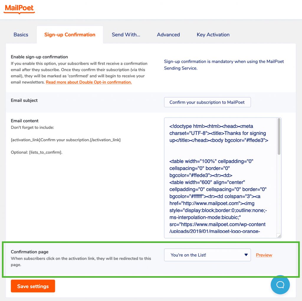 Signup confirmation page settings in MailPoet