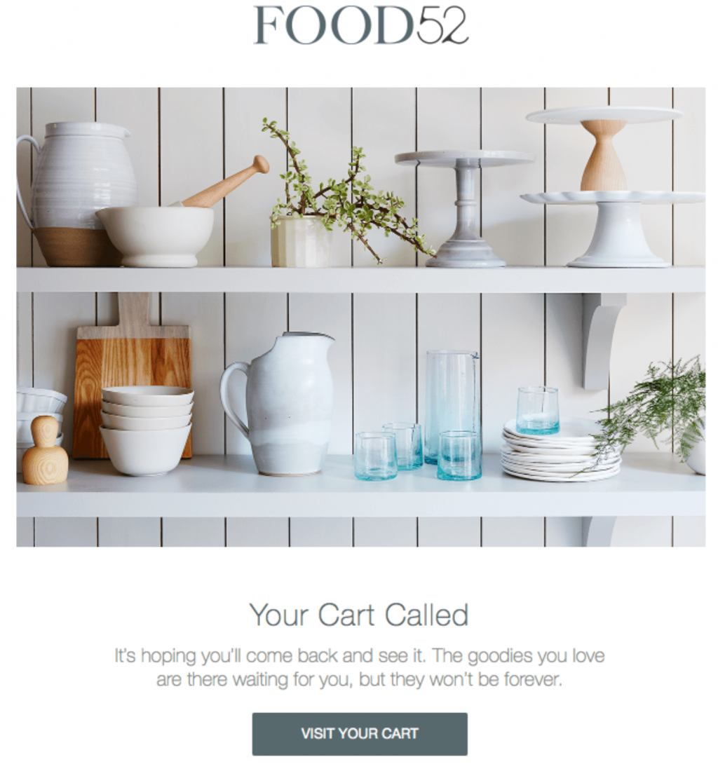 WordPress autoresponders: Food52 abandoned cart email