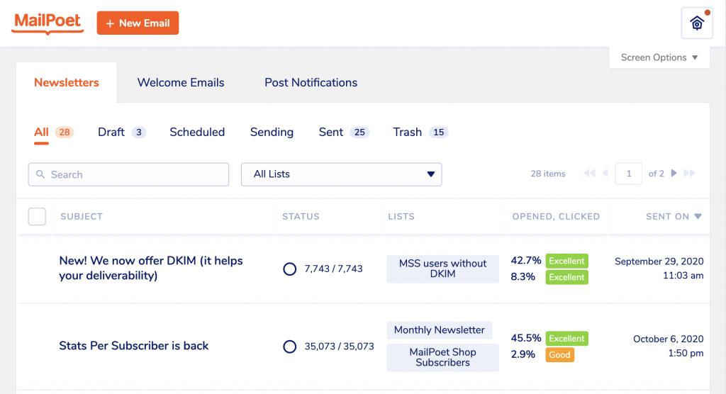 MailPoet emails