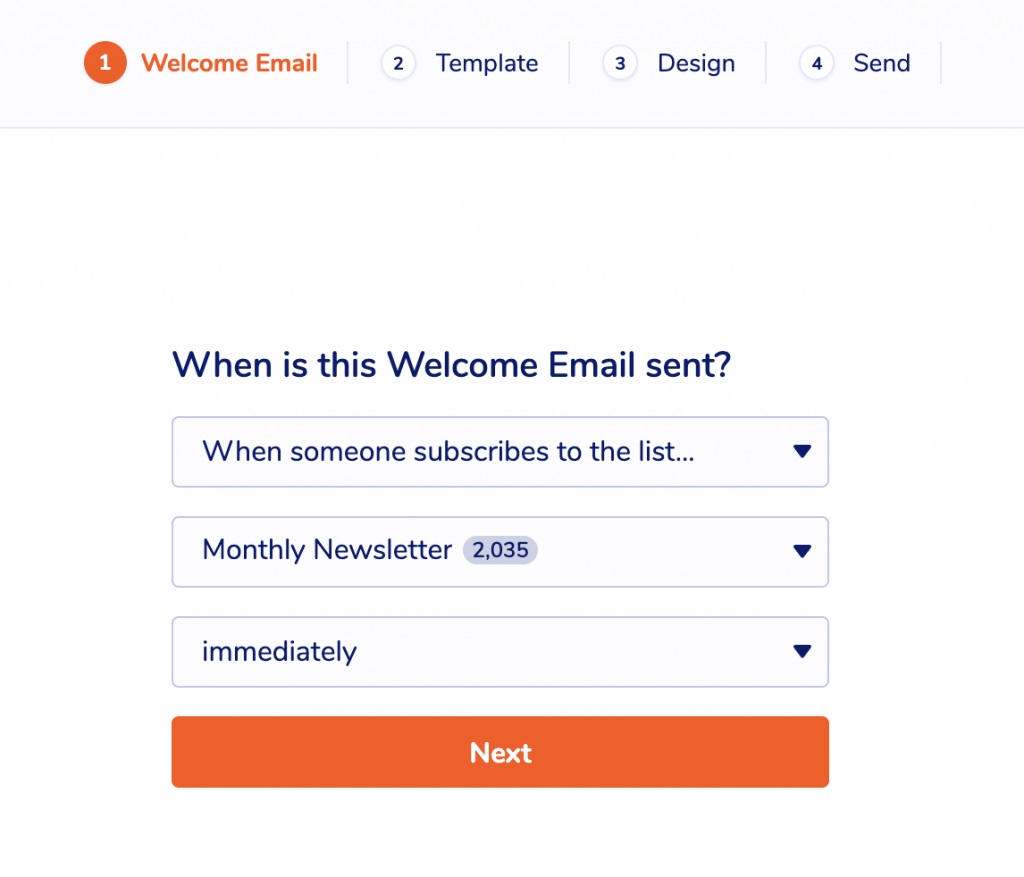 Welcome Email options in MailPoet