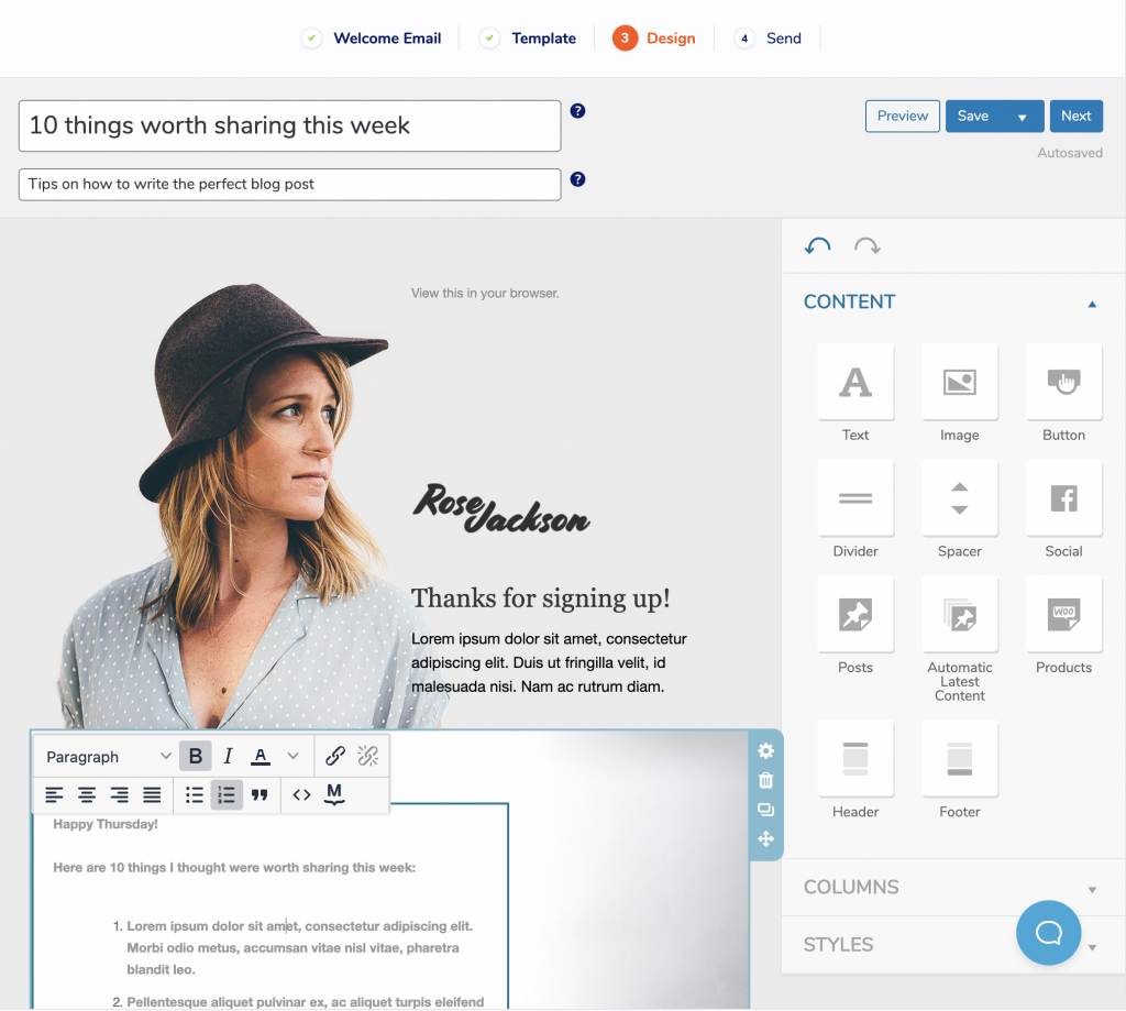 Editing a Welcome Email in MailPoet