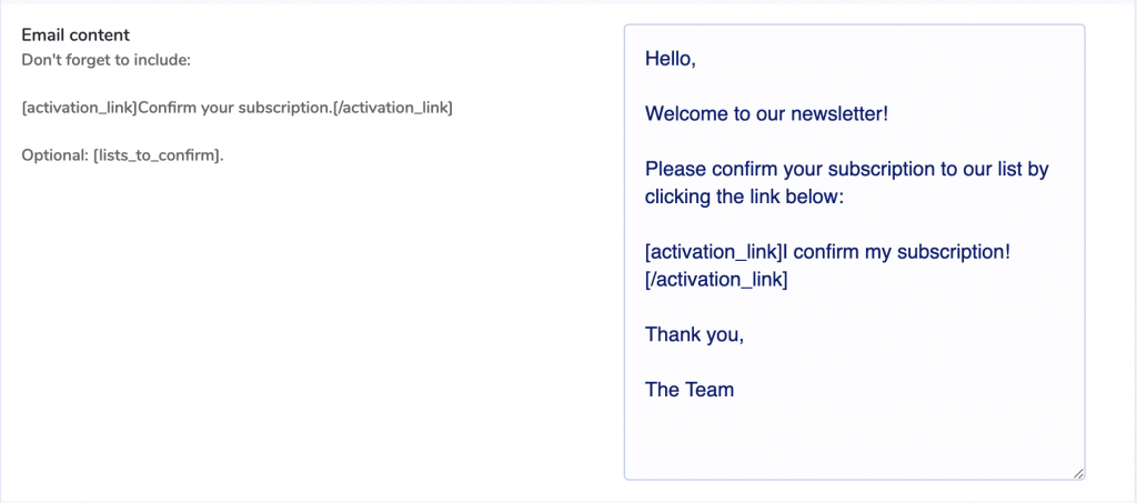 Signup confirmation email content