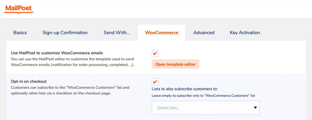 WooCommerce Email Customizer settings in MailPoet