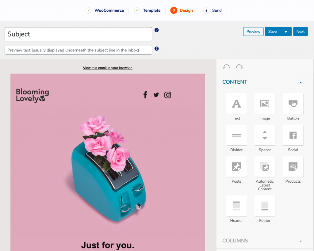 Editing a WooCommerce email template in MailPoet
