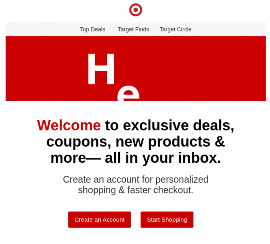 Target welcome email