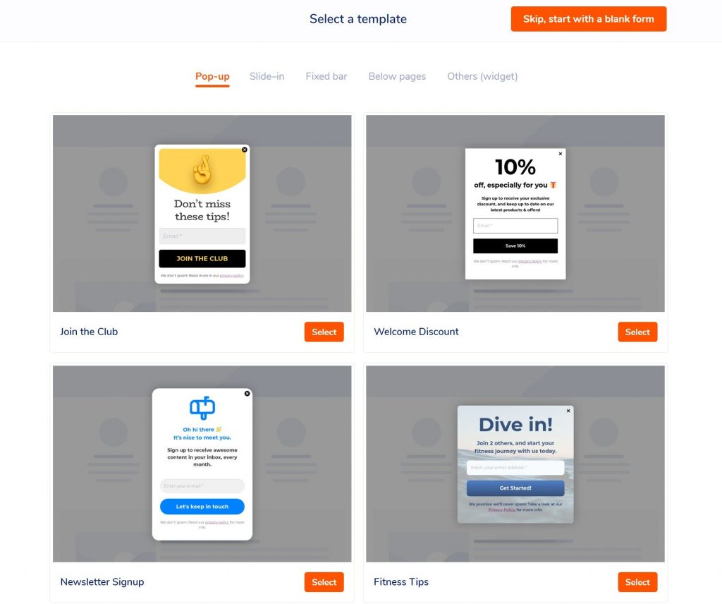 Choose a mobile responsive form template