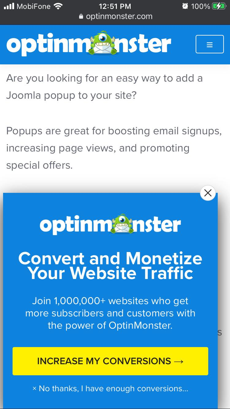 OptinMonster mobile opt-in form