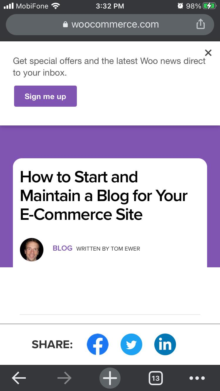 WooCommerce mobile opt-in form