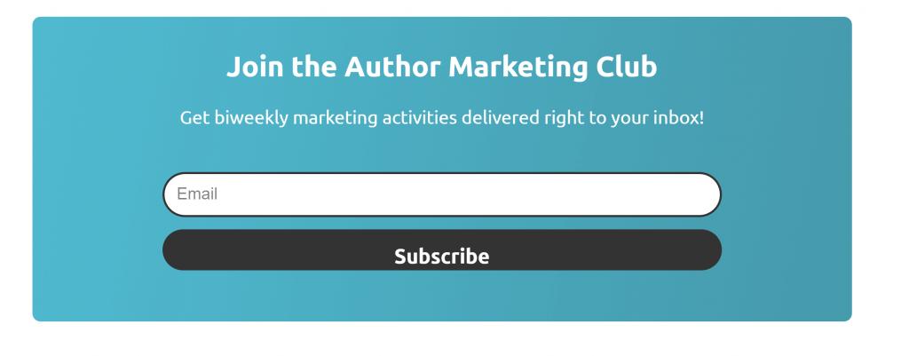 Author Marketing club signup form