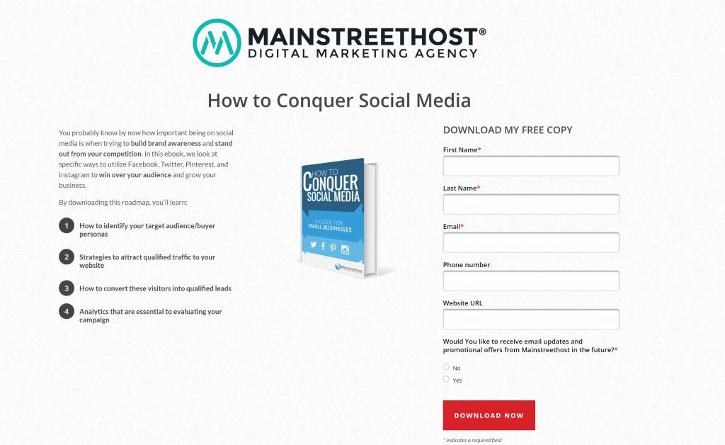 Opt-in bonuses: MainStreetHost Landing Page