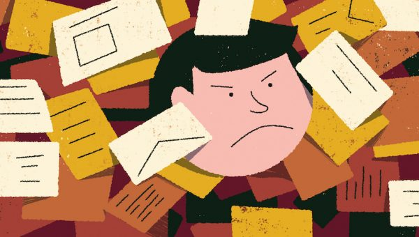 illustration of someone looking unhappy with lots of letters surrounding them