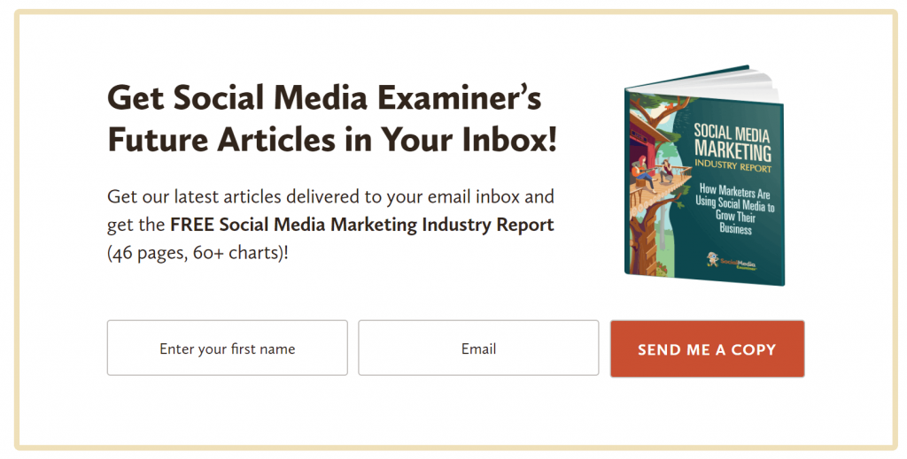 Social Media Examiner's embedded signup form
