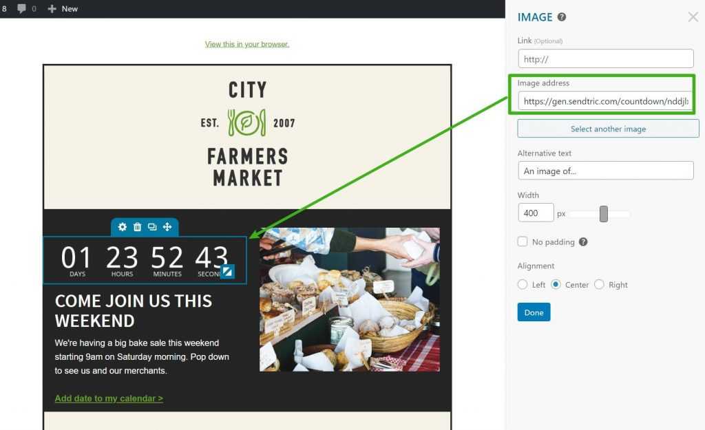 Add the URL to your email countdown timer image
