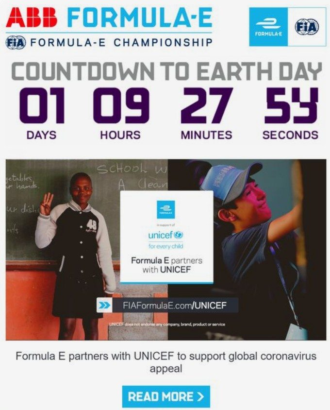 Formula-E  email countdown timer example