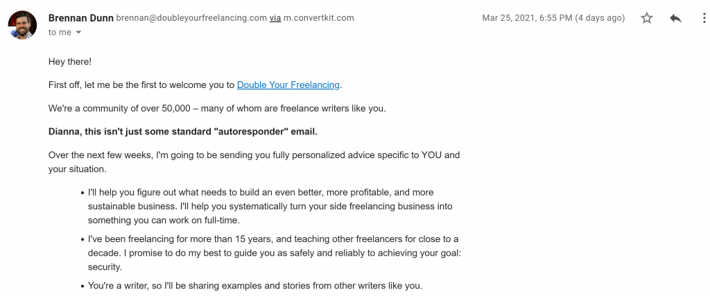Double Your Freelance Income First Email