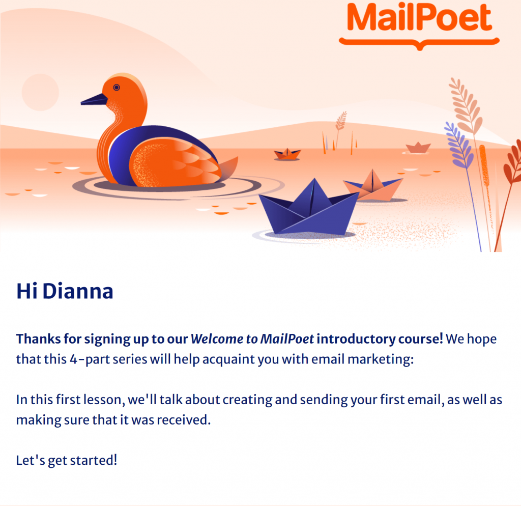 How to create an automated welcome sequence: MailPoet Email Course