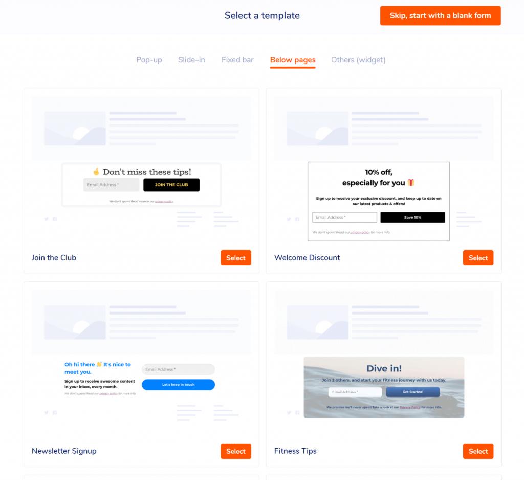 MailPoet form templates