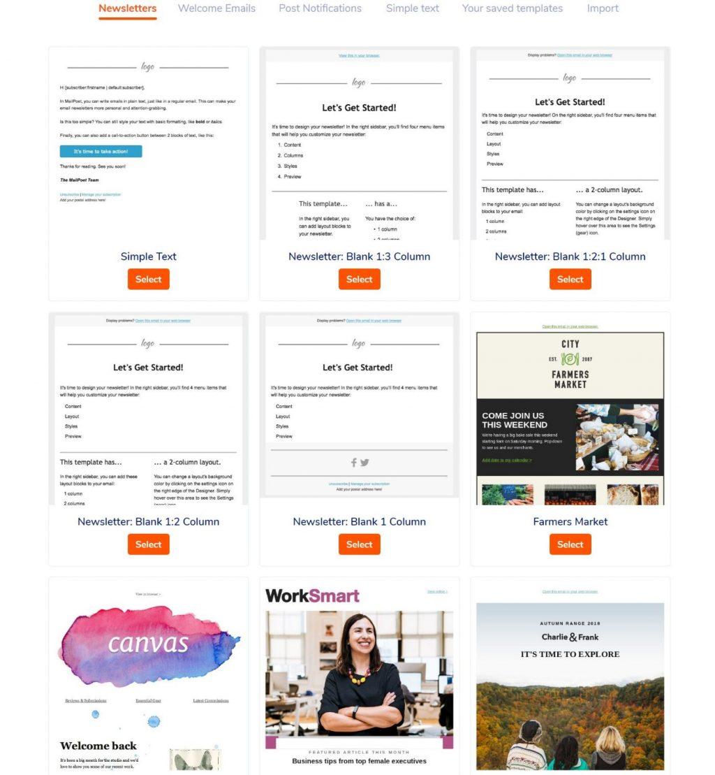 MailPoet email templates