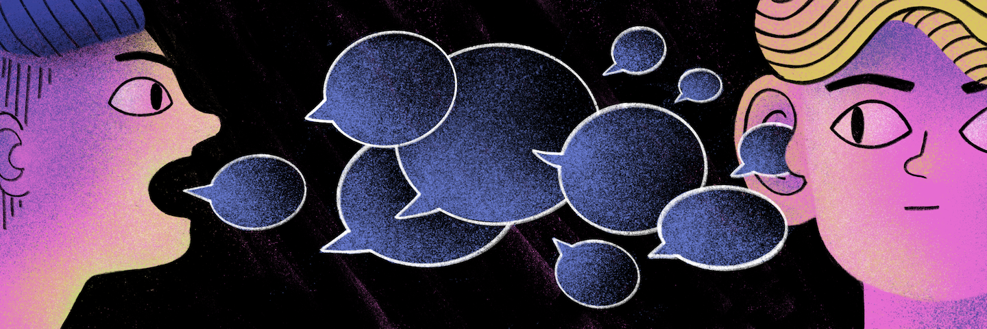 Illustration of a person speaking to another, with speech bubbles representing conversation