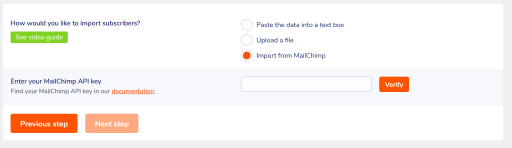 Import from MailChimp