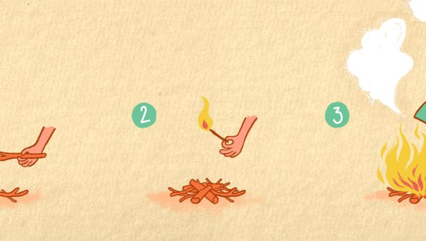 illustration of a camp fire being made