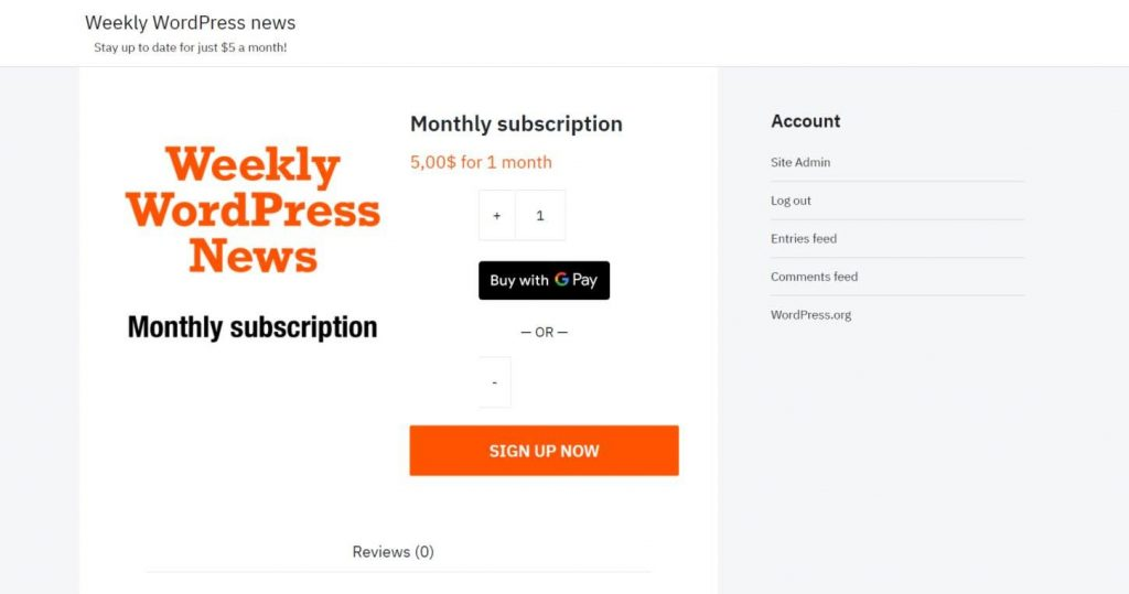 Example of 'Add to cart' for a paid newsletter subscription service
