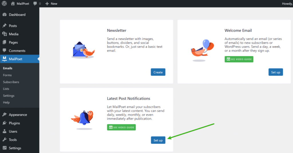 Create new post notification email