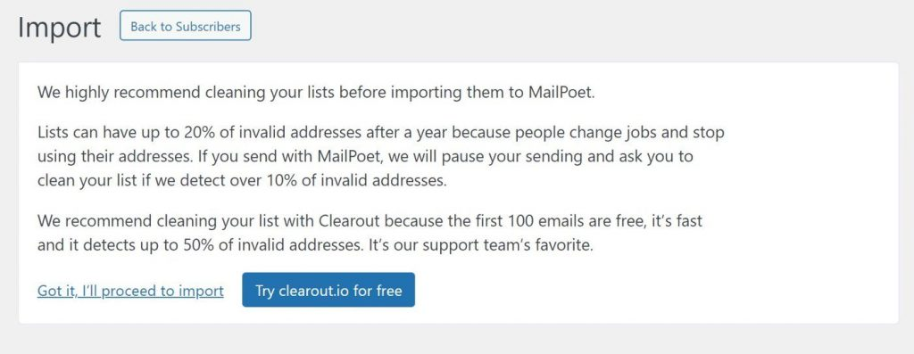 Clean your list before importing