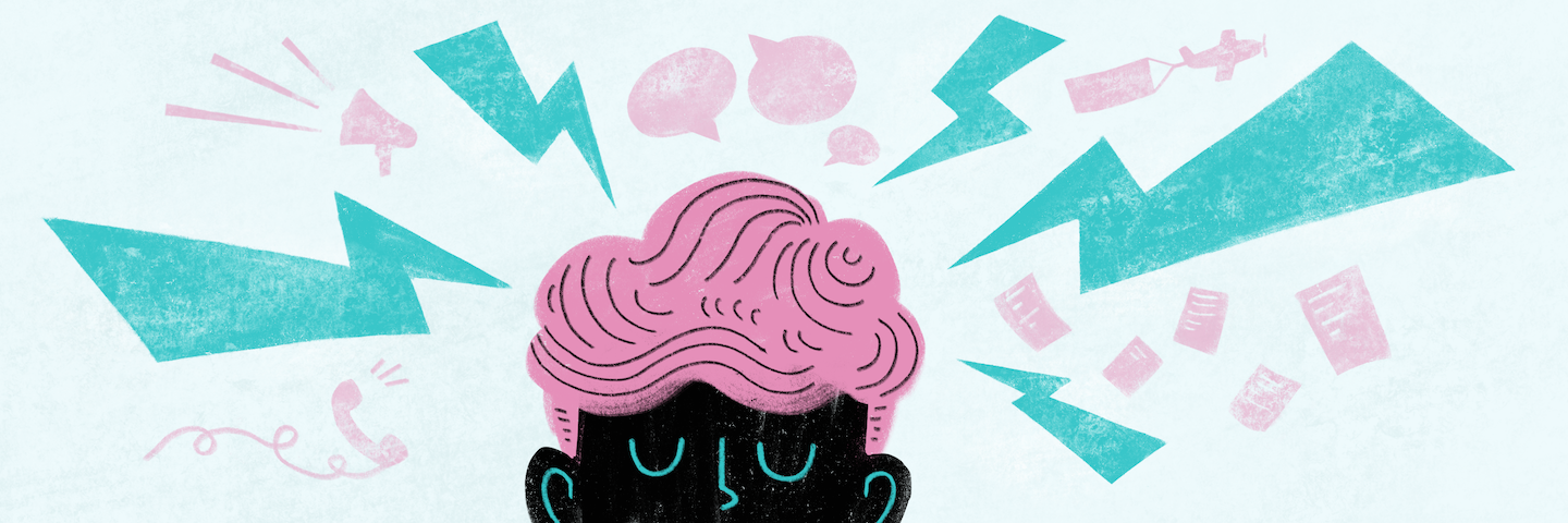 illustration of a person with speech bubbles surrounding their head