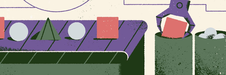 illustration of a conveyer belt sorting shapes